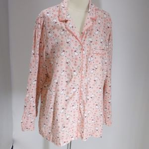Victoria's Secret pink/rabbits pajama top-sz XL